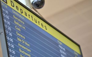 airport departures information board